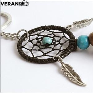 Image 3 - Dreamcatcher Car Ornaments Pendant Hanging Decoration Ancient Silver Leaves Key Chain Catch Dream Net Key Ring