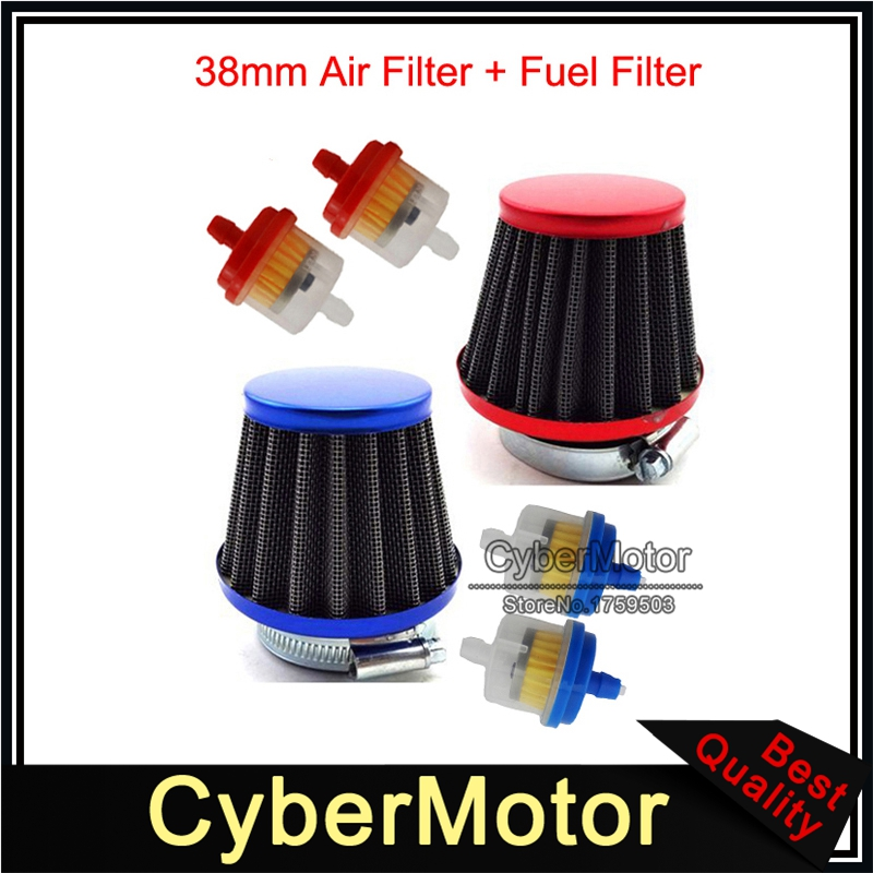 Motorcycle <font><b>38mm</b></font> Air <font><b>Filter</b></font> + Fuel <font><b>Filter</b></font> For 50cc 90cc 110cc 125cc Pit Dirt Bike ATV GY6 50cc QMB139 Engine Moped Scooter image
