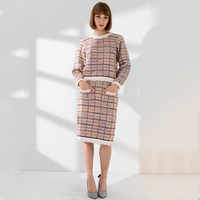 European Autumn Spring Women Chic Two Piece Skirt Set Tassel Tops Slim Straight Skirt Plaid Tweed Twin Sets Quality Outfits