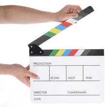 Clapperboard acrílico colorido Clapper Board borrado en seco Director Cut TV películas vídeos acción pizarra Clap hecho a mano cortar Prop