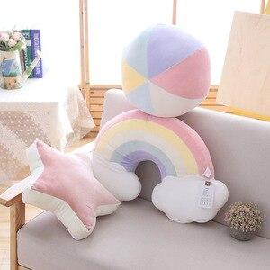 Image 4 - Cuscino creativo colorato per bambini decorazione per camera dei bambini cuscino per finestra a baia arcobaleno conchiglia stella palla cartone animato cuscino Comfort per bambini