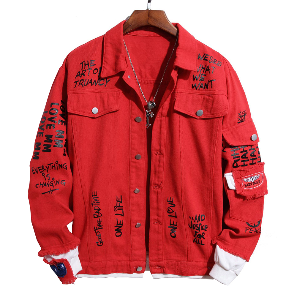 Men's Patchwork Letters Printed Red Denim Jacket Loose Rose Painyed Turn Down Collar Jean Coat Outerwear