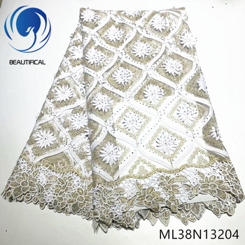 BEAUTIFICAL african lace fabrics nigerian tulle lace embroidery fabric high quality 5yards/lot lace stones fabric ML38N132