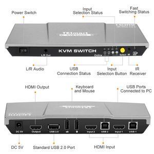 Image 2 - 2X1 Kvm Switch 4K60Hz Hdmi Kvm Switch 2Port Tesmart Hdmi Switch Ondersteuning 3840*2160/4K * 2K En Usb 2.0 Poorten Toetsenbord En Muis