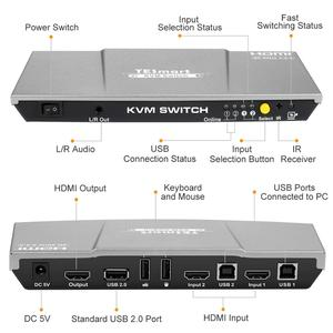 Image 2 - 2x1 KVM Switch 4K60Hz HDMI KVM Switch 2port TESmart HDMI Switch Support 3840*2160/4K*2K and USB 2.0 Ports Keyboard and mouse