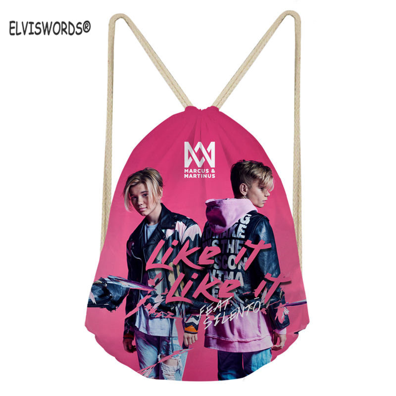 ELVISWORDS Marcus And Martinus Print Casual School Bags For Teenage Girls Pop Stars Travel Beach Sack Bags Lady Yoga Backpacks