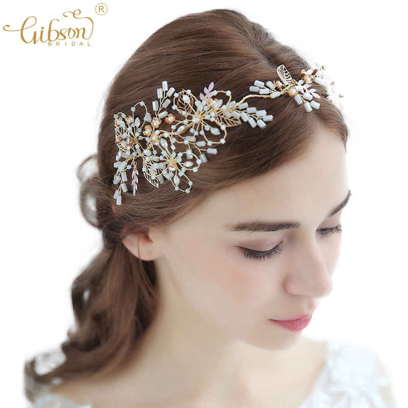 Wedding Rhinestones Hair Vine Accessories Bridal Wedding Headband with 5pcs Pearl Headpieces
