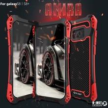R JUST 케이스 삼성 10 플러스 S9 S8 S7 가장자리 케이스 갑옷 킹 알루미늄 탄소 섬유 충격 방지 커버 갤럭시 참고 8 9 10Coque