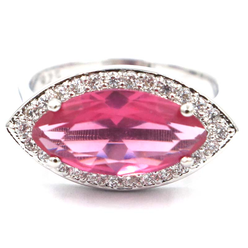 20x12mm Fantastisk rosa Tourmaline White CZ SheCrown Woman's Silver Ring