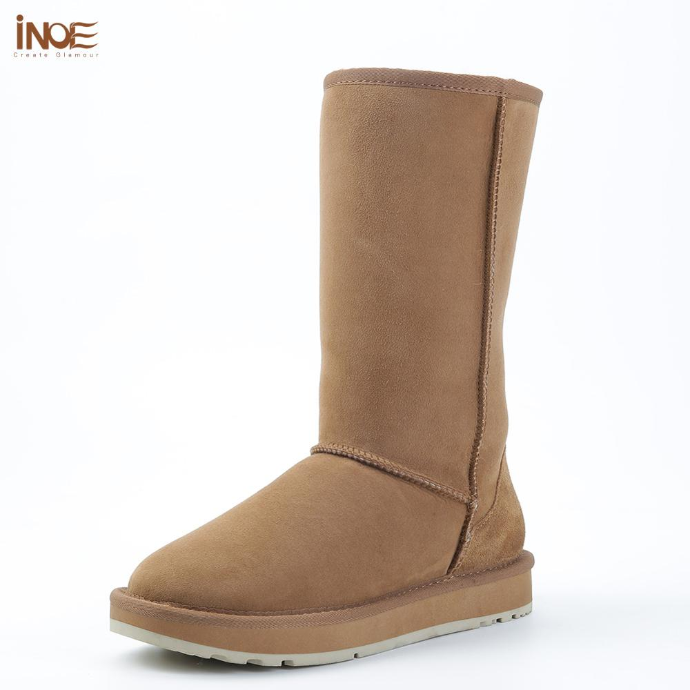 INOE Classic Knee High Sheepskin Suede Leather Wool Fur Shearling Lined Winter Boots for Women Snow Boots Shoes Brown Black Red