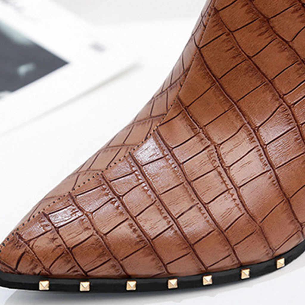 Phong Cách Ký Hợp Đồng Triều Cô Gái Giày Người Phụ Nữ Phong Cách Anh Quốc Đinh Tán Giày Giày Bốt Martin Thu Đông 2018 Mới Giày Cao Gót # G4