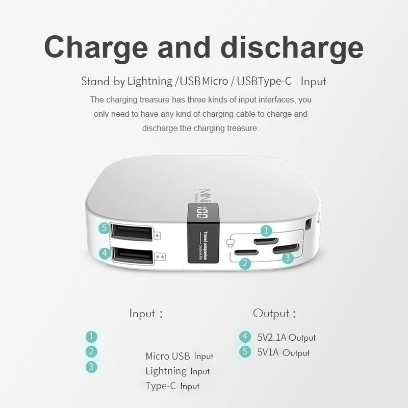 Mini Portable 10000mAh Power Bank Charging With Digital Display For Xiaomi Phones 3