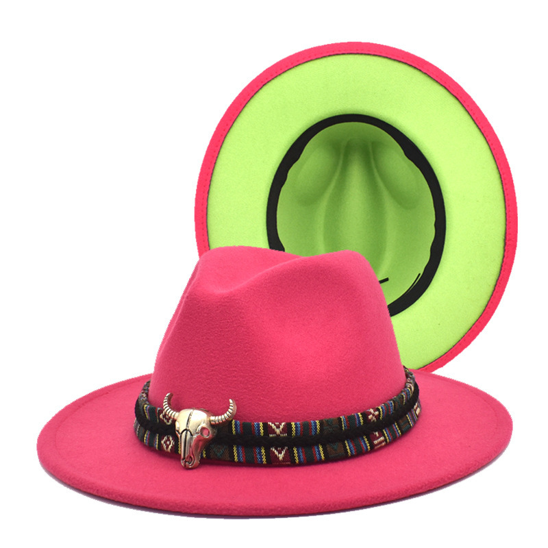 Autumn and winter new two-color woolen Fedoras top hat Female bull head accessories double-sided color jazz hat man felt hat