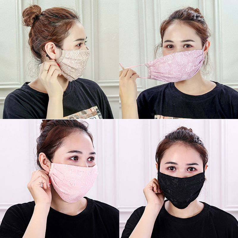 Women Girls Crochet Floral Lace Winter Warm Mouth Mask Anti Dust Windproof Sun Protection Half Face Cover Adjustable Earloop Res