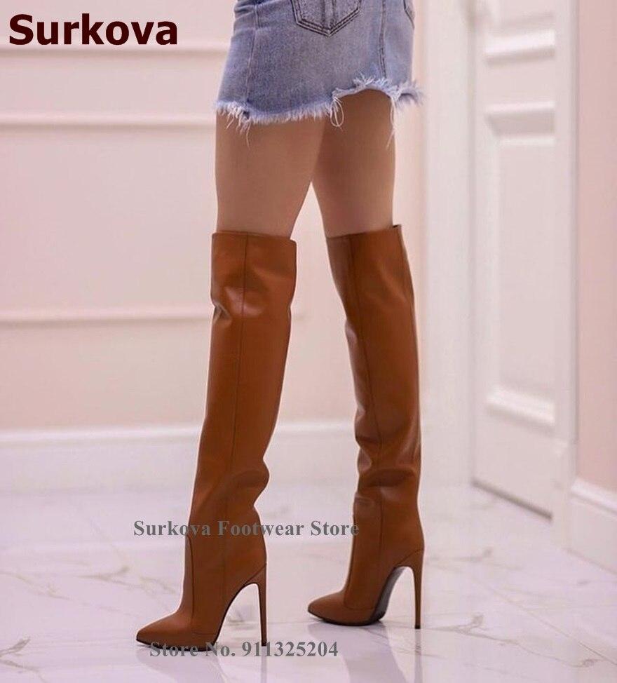 botas femininas fino salto alto apontou toe