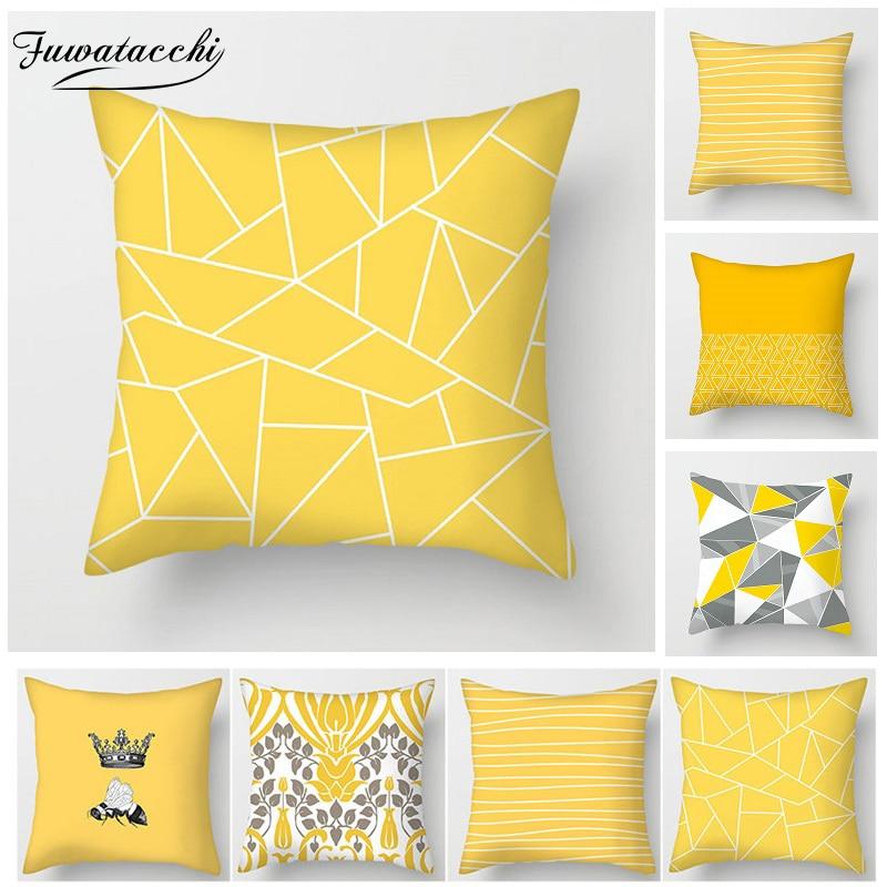 Fuwatacchi Yellow Cushion Cover Mandala Geometric Diamond Wave Pillow Cover For Chair Sofa Home Decorative Pillows 45x45cm