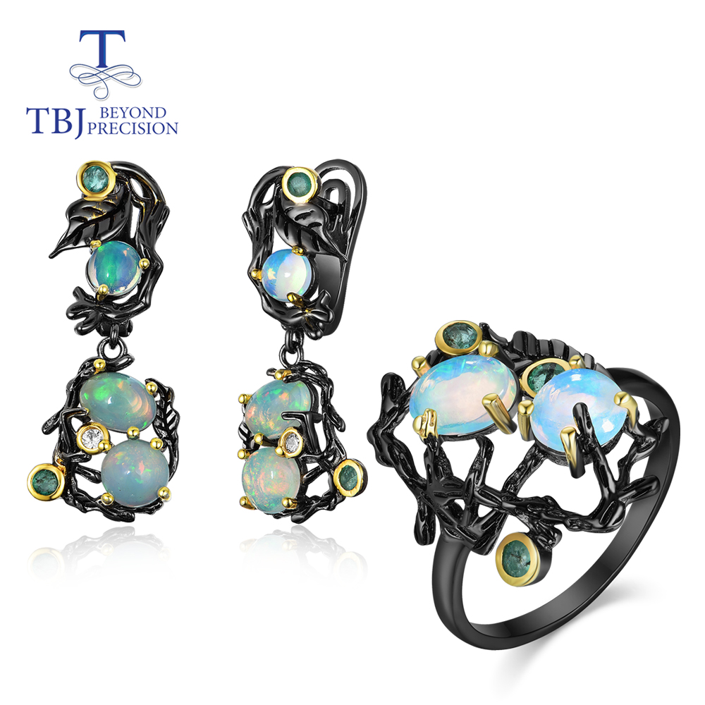 TBJ, Natural Gemstone Multi-color Opal Jewelry Set 925 Sterling Silver Ring And Earring Fine Jewelry Vintage