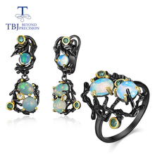 TBJ, Natural gemstone multi-color opal Jewelry Set 925 sterl