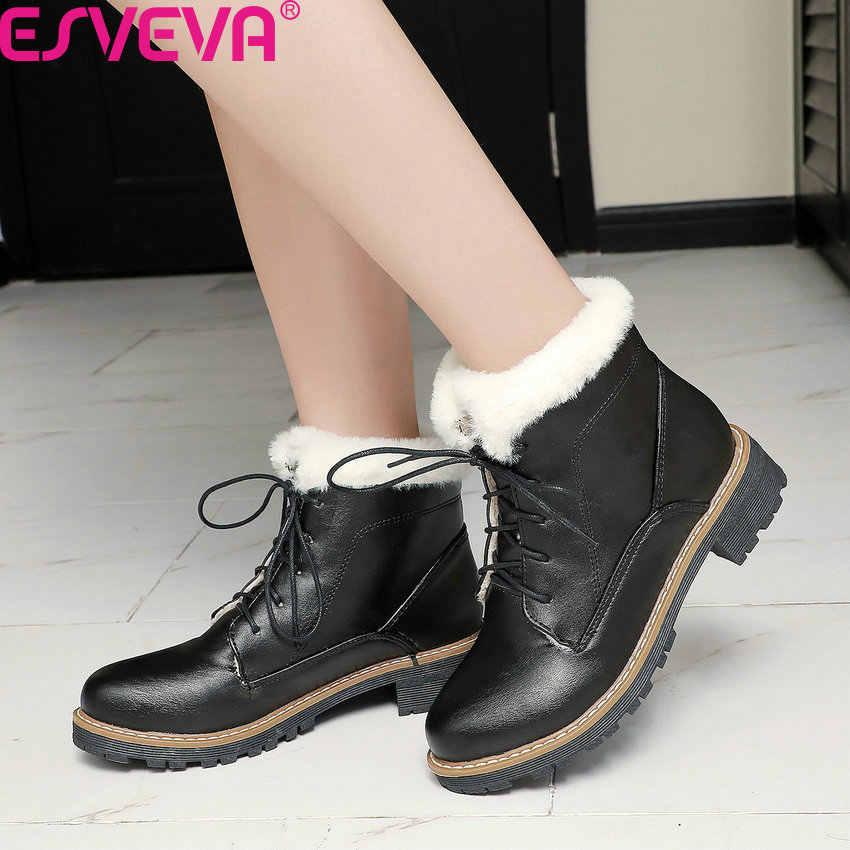 ESVEVA 2020 PU deri rahat yuvarlak ayak dantel kadar kış kadın ayakkabı kare yüksek topuk tüm maç sıcak kürk yarım çizmeler büyük Size34-43