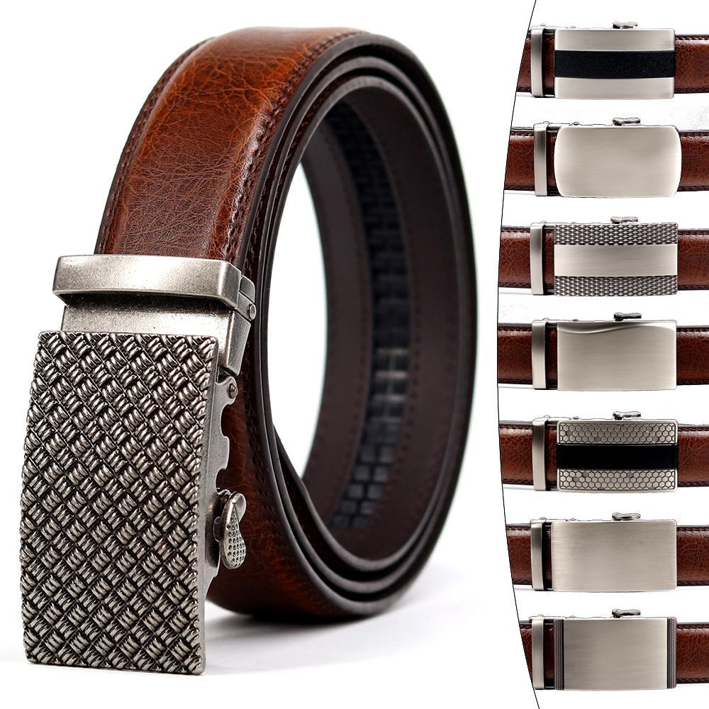 Brand Simple Casual Men's Leather Belt Designer Luxury Cowhide Belt Ratchet High Quality Alloy Automatic Buckle