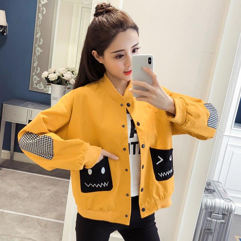 2019 nouveau Style automne Cardigan manteaux femmes solide lâche doux Baseball tissu Harajuku bouton veste Feminino mince manteaux Outwear