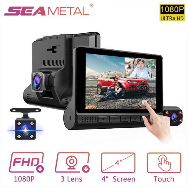 "4"" LCD Dash Cam Car DVR 24h Parking Monitor 1080P Night Vision Dashcam Auto Video Recorder with 720P Rear Camera 3 Lens G-Sensor 1"