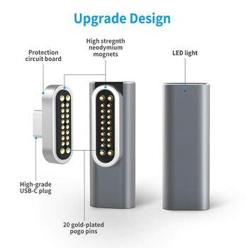 Магнитный USB C адаптер 20 контактов разъем типа C, поддержка PD 100 Вт быстрая зарядка, 10 GBP/s передача данных Совместимость с MacBook Pro