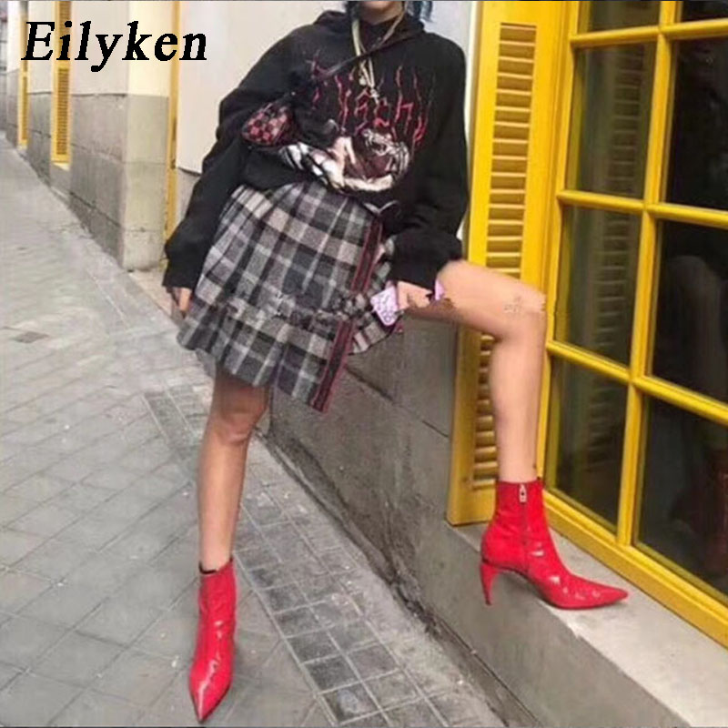 EilyKen Fashion Red Soft PU Leather Woman Ankle Boots Pointed Toe Chelsea Boots Ladies Zipper Party Boots 2020 Autumn Winter New