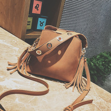 New Female Tassel Shoulder Bag Scrub Vintage Crossbody Bags For Women Bucket Handbags Designer women bag purse shoulder
