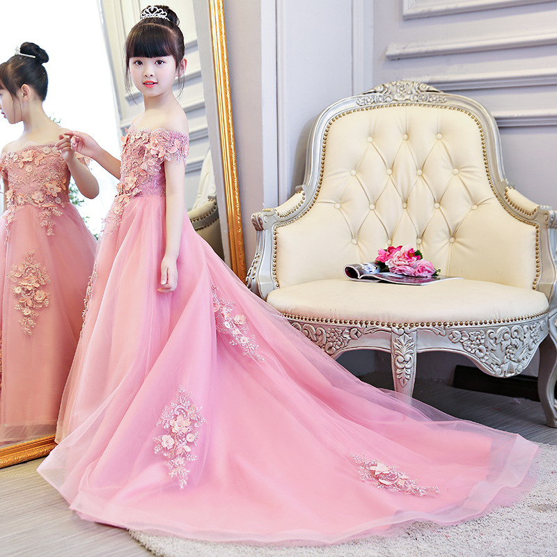 Children Wedding Dress Puffy Yarn Flower Boys/Flower Girls Piano Costume Tailing GIRL'S Gown Host Catwalks Princess Skirt Autumn