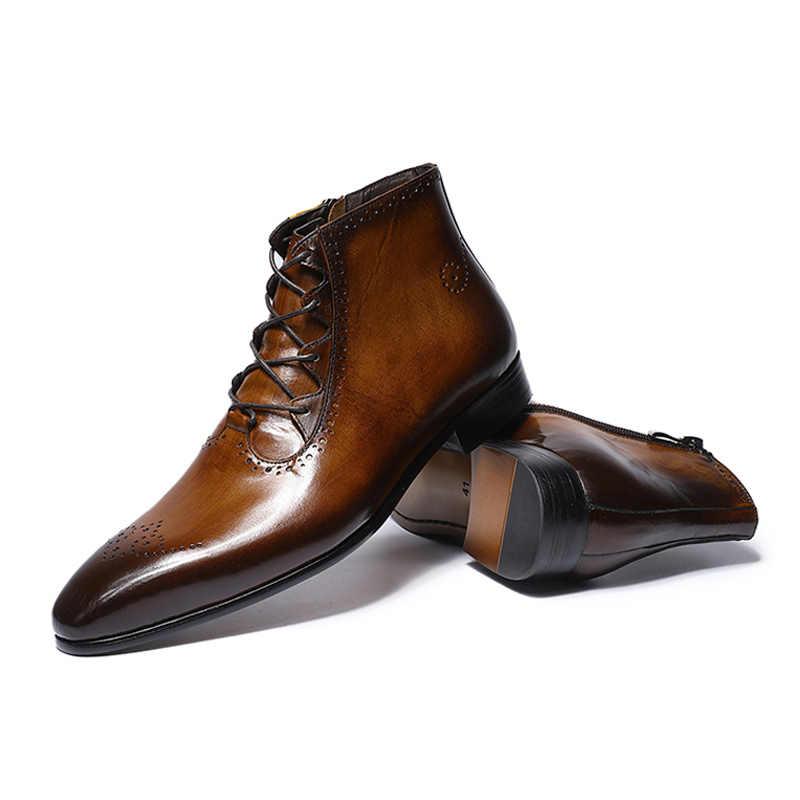 FELIX CHU 2019 Moda Tasarım Hakiki Deri Erkek yarım çizmeler Yüksek Top Zip Lace Up Elbise Ayakkabı Siyah Kahverengi Erkek Temel çizmeler