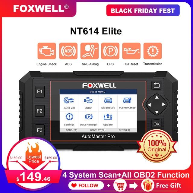 Foxwell NT614エリートobd OBD2スキャナ4システムepbオイルサービスリセットobdii自動車スキャナープロフェッショナル車の診断ツール