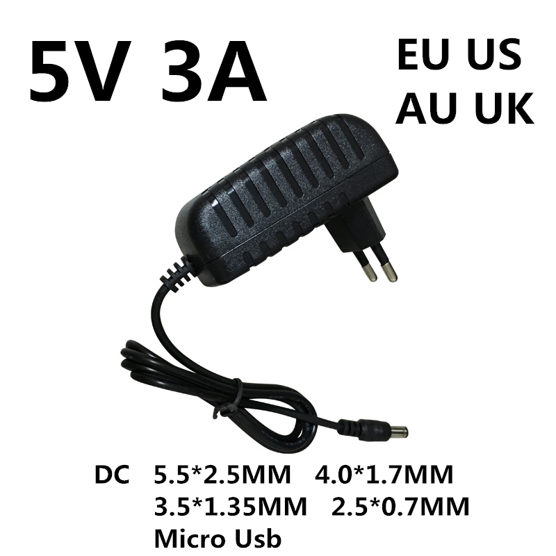 1 шт. DC 5 В 3A 3000MA Micro Usb Ac/dc адаптер питания EU US AU UK зарядное устройство 5 в вольт для Raspberry Pi Zero Tablet Pc