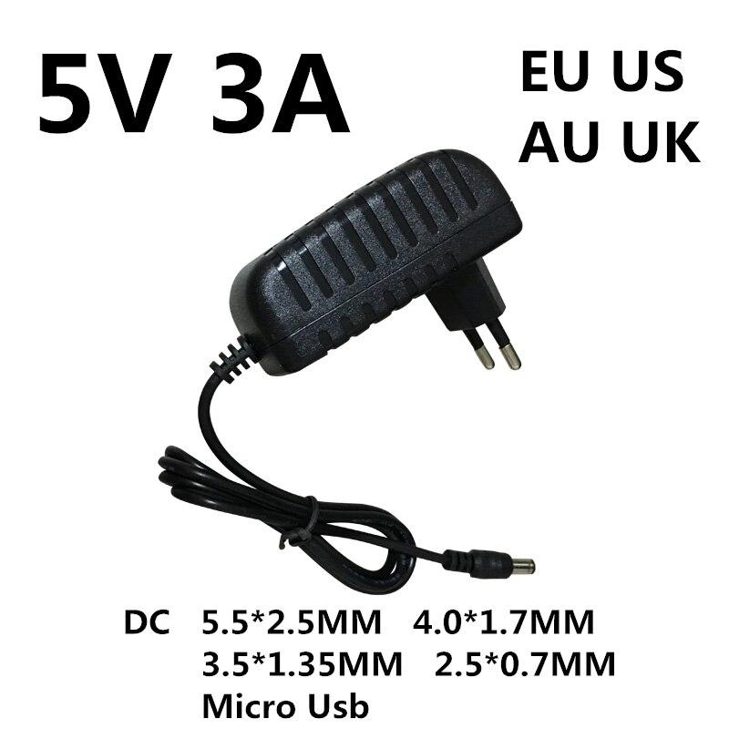 1 pièces DC 5 V 3A 3000MA Micro Usb Ac/dc adaptateur d'alimentation EU US AU UK prise chargeur 5 V Volt pour Raspberry Pi zéro tablette Pc