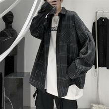 100% Cotton Plaid Shirts Men Summer Autumn Loose Shirt Hip Hop Couple Shirts Harajuku Tops Streetwear Punk Funny Blouse Shirt