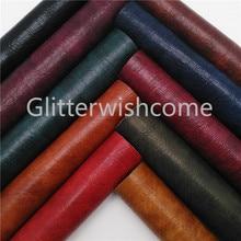 Vinilo de tamaño A4 de 21X29CM Glitterwishcome para lazos de cuero Vintage Fabirc hojas de cuero de imitación para arcos materiales, GM557A