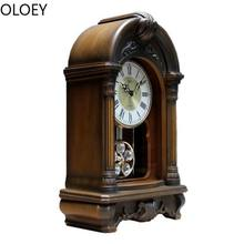 Luxury Pendulum Wall Clock Chinese Wood Large Retro Desk Wall Clock Reloj De Pared Farmhouse Decor Best Selling 2019 Products(China)