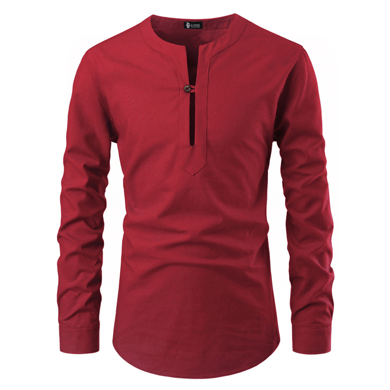 Men's Casual Blouse Collarless Shirt Loose Tops Fashion Long Sleeve Shirts Spring Autumn Casual Handsome Male Blouses Pullovers