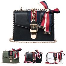 цена на Flap Faux Leather Crossbody Bags For Women Fashion Color Block Ribbon Bow Chain Shoulder Messenger Bag Lady Travel Handbags hot