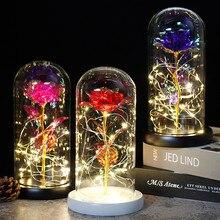Várias cores beleza e a besta rosa vermelha em uma cúpula de vidro em uma base de madeira para presentes dos namorados lâmpadas led rosa natal
