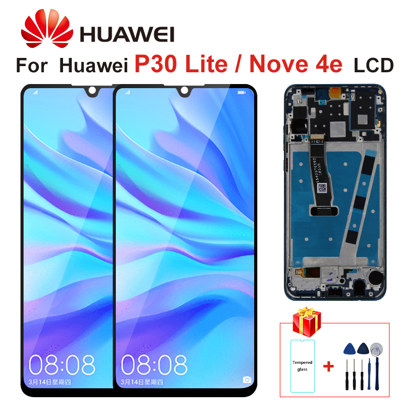 Original LCD With Frame For HUAWEI P30 Lite LCD Display Screen Digitizer Assembly For HUAWEI P30 Lite Screen Nova 4e MAR-LX1 LX2