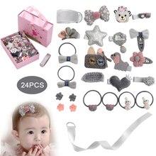 цена на 24 Pcs/Box New Kids Children Accessories Hairpins Barrettes Baby Fabric Bow Flower Headwear Hair clips Girls Headdress