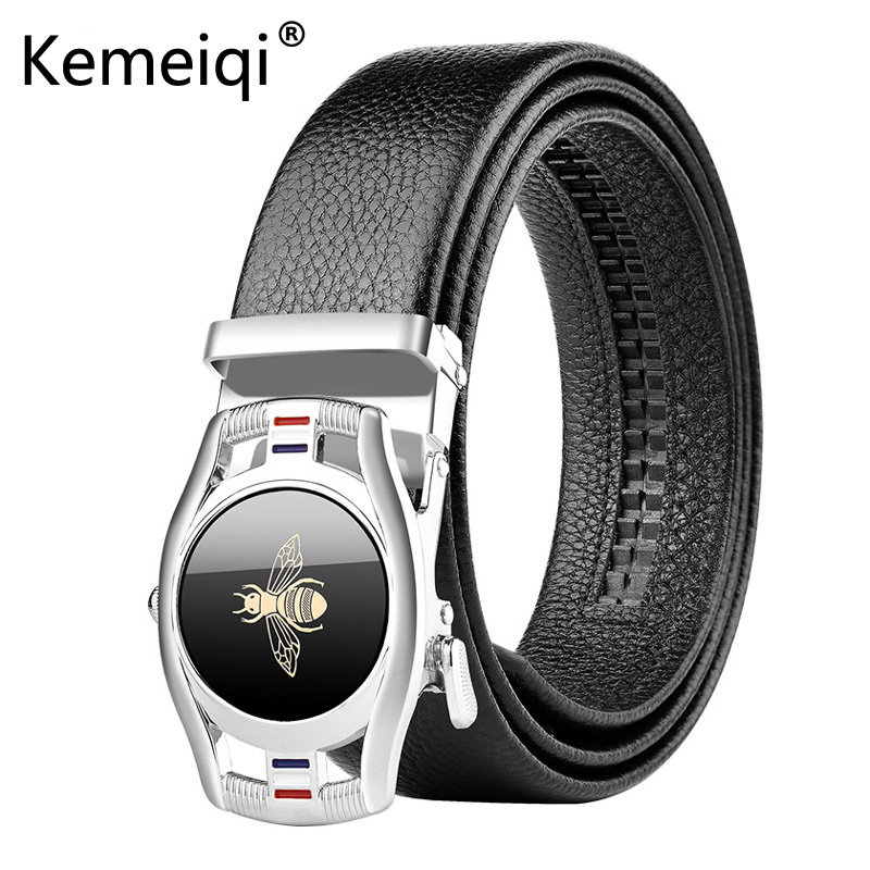 Kemeiqi  Men's Comfort Genuine Leather Ratchet Dress Belt with Automatic Click Buckle High Quality Cow Genuine Leather Belt