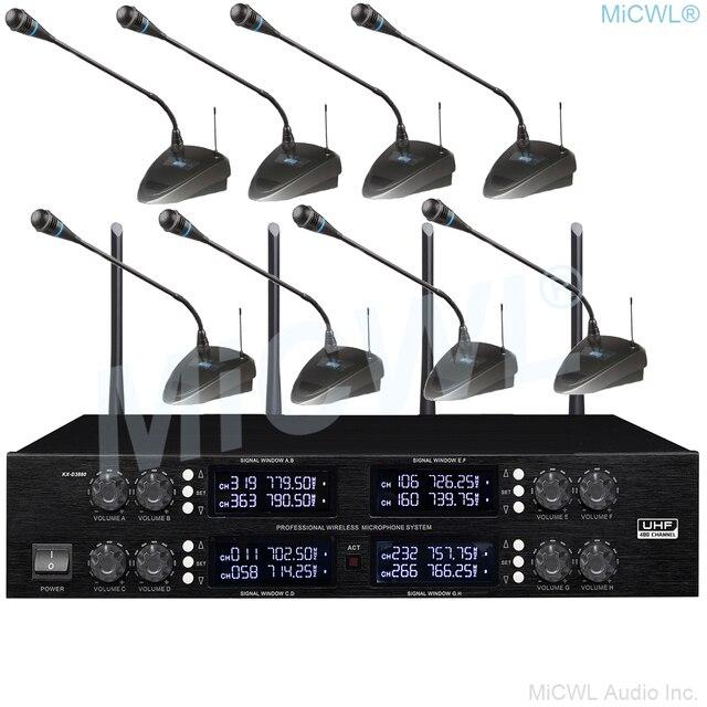 MiCWL haut de gamme sans fil 8 bureau col de cygne conférence Microphone système de grande petite salle de réunion 400 régulation de fréquence