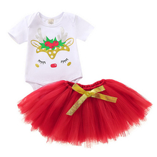 Christmas Toddler Baby Kid Girl Clothing Set Children Xmas set Reindeer Tops Tutu Skirts Outfits costumes for halloween D20