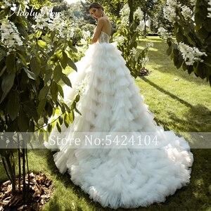 Image 2 - ロマンチックな恋人のネックアップリケ花嫁夜会服のウェディングドレス 2020 高級レースビーズのティアード裁判所の列車の王女の花嫁衣装