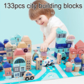 DOLLRYGA 133 шт./компл. деревянный архитектурный конструктор блоки Ранние развивающие игрушки геометрический конструктор красочное дерево