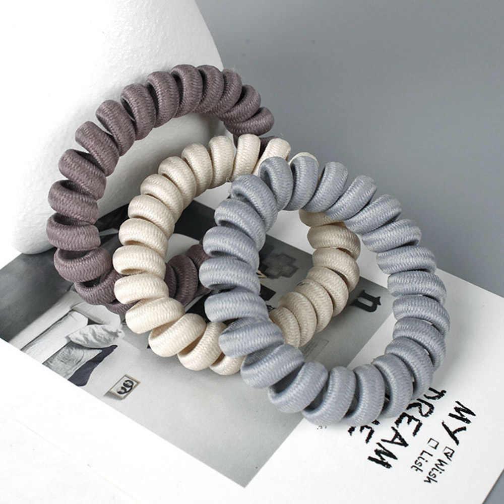 1 PC. 7 cores elasticidade telefone bobina hairbands feminino espiral laços de cabelo meninas anéis de cabelo telefone fio acessórios para o cabelo