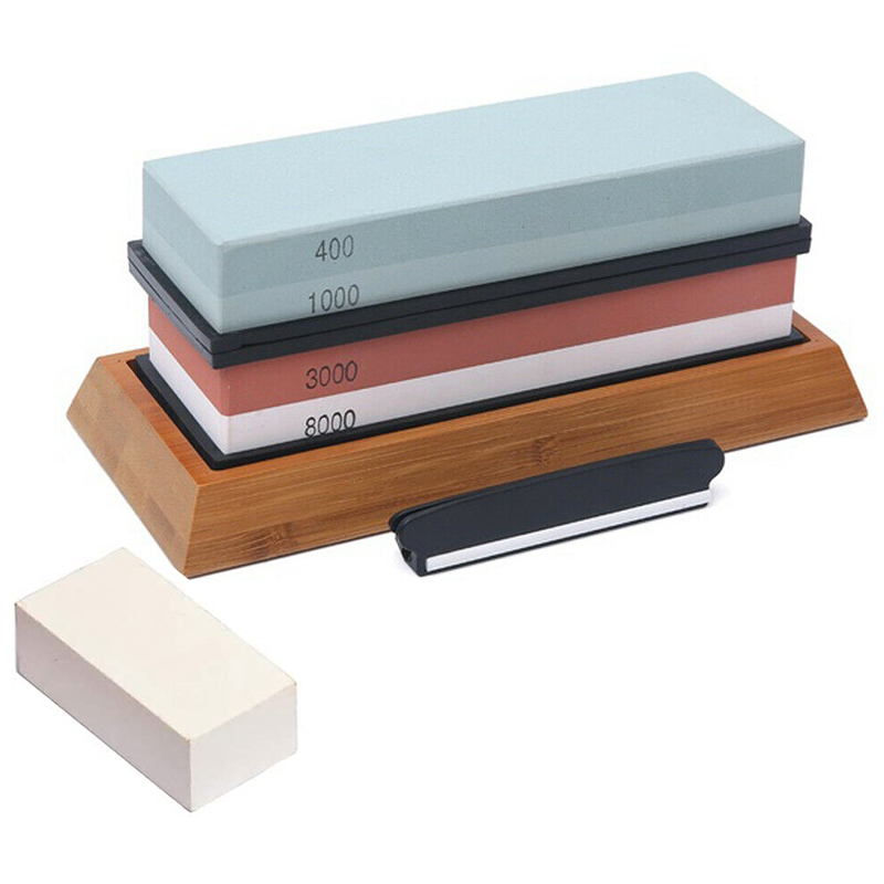 <font><b>Whetstone</b></font> 400/1000 3000/8000 Grit, Sharpening Stone for All Blades with Non-Slip Base Cutter Sharpener and Angle Guide image
