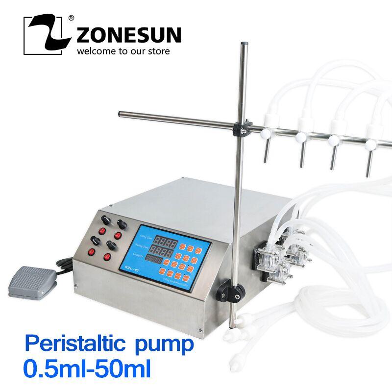 ZONESUN 4 Heads Peristaltic Pump Filler Semi-auto Liquid Vial Alcohol Filling Machine For Juice Beverage Soy Sauce Oil Perfume